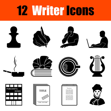Set of twelve writer black icons. Vector illustration.
