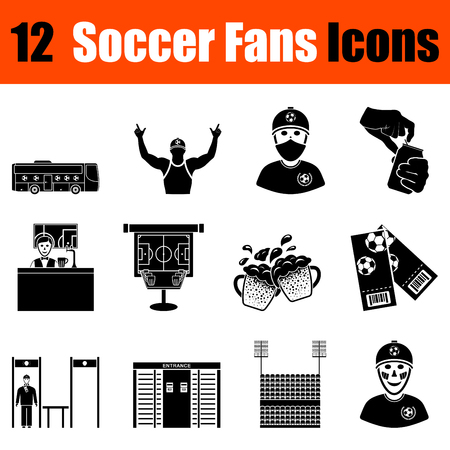 grandstand: Set of twelve soccer fans  black icons. Vector illustration.