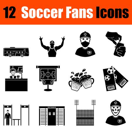 ultras: Set of twelve soccer fans  black icons. Vector illustration.