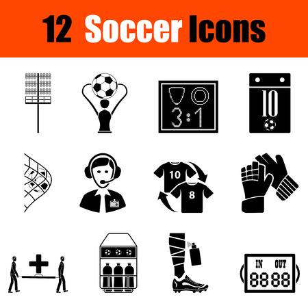 Set of twelve soccer black icons. Vector illustration.