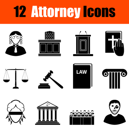 attorney: Set of twelve attorney black icons. Vector illustration.