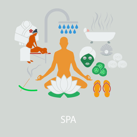 woman washing face: SPA flat design in UI colors. Vector illustration.