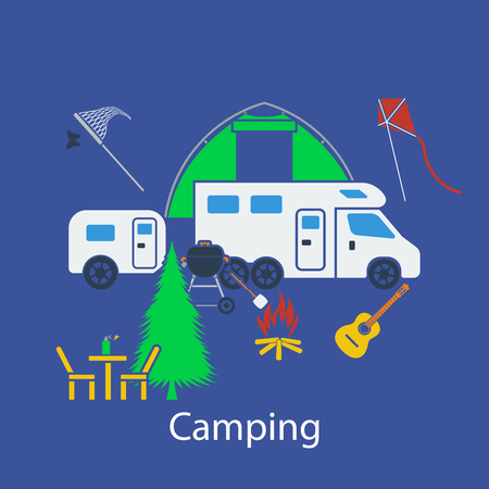 insect repellent: Camping flat design in UI colors. Vector illustration. Illustration
