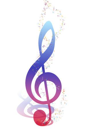 pentagrama musical: Diseño de los elementos musicales del personal de la música con Clave de sol y notas en gradiente de colores transparentes. Diseño elegante creativo con las sombras y aislado en blanco. Ilustración del vector. Vectores