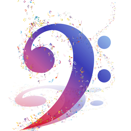 minim: Musical Design Elements From Music Staff With Treble Clef And Notes in gradient transparent  Colors. Elegant Creative Design With Shadows and Isolated on White. Vector Illustration.