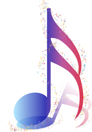 crotchets: Musical Design Elements From Music Staff With  Notes in gradient transparent Colors. Elegant Creative Design With Shadows and Isolated on White. Vector Illustration.