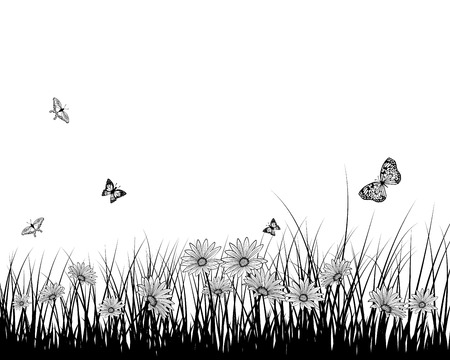 springtime: Springtime meadow with  butterflies. Vector illustration.