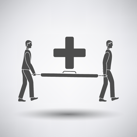 stretcher: Soccer medical staff carrying stretcher icon on gray background with round shadow. Vector illustration.
