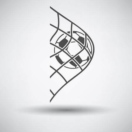 pelota de futbol: Balón de fútbol en la puerta icono de red en fondo gris con la sombra redonda. Ilustración del vector.