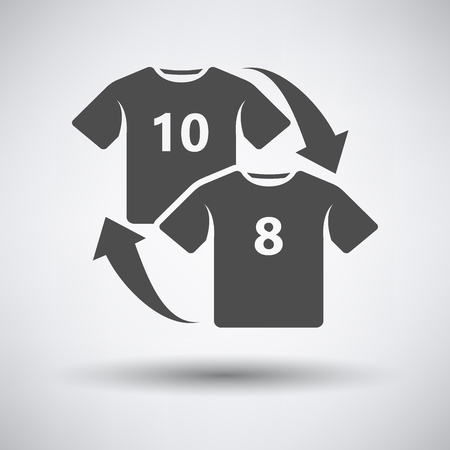 replace: Soccer replace icon on gray background with round shadow. Vector illustration.
