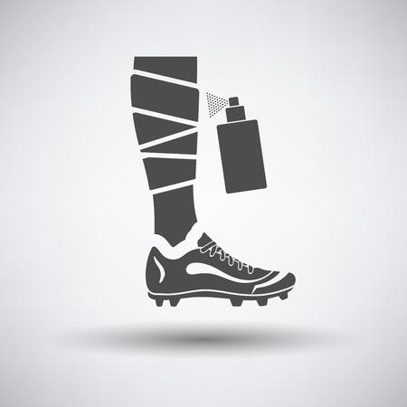 anesthetic: Soccer bandaged leg with aerosol anesthetic icon on gray background with round shadow. Vector illustration.