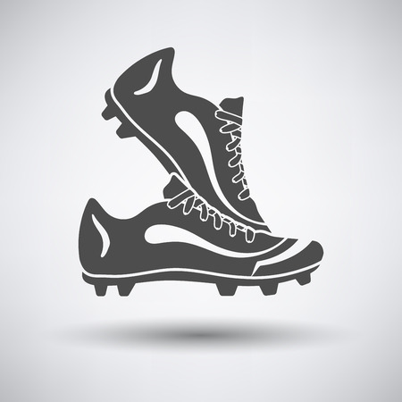 soccer boots: Soccer pair of boots  icon on gray background with round shadow. Vector illustration.