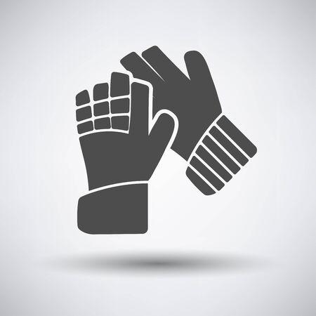 portero de futbol: guantes de portero de f�tbol icono en fondo gris con la sombra redonda. Ilustraci�n del vector.