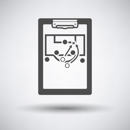 soccer coach: Soccer coach tablet with sheme of game icon on gray background with round shadow. Vector illustration.