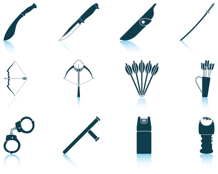 electroshock: Set of twelve weapon icons with reflections. Vector illustration.
