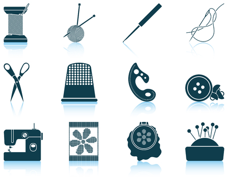 threads: Set of twelve sewing  icons with reflections. Vector illustration.
