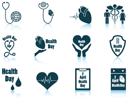 prevention: Set of twelve Health day icons with reflections. Vector illustration. Illustration