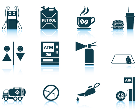 reflections: Set of twelve Petrol station icons with reflections. Vector illustration.