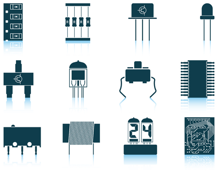 Set of twelve electronic components icons with reflections. Vector illustration.