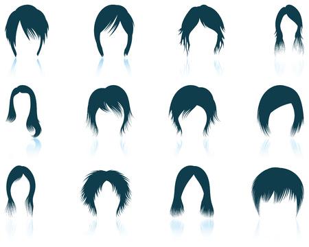 cabeza de mujer: Conjunto de iconos de los peinados de las doce de la mujer con reflejos. Ilustración del vector. Vectores