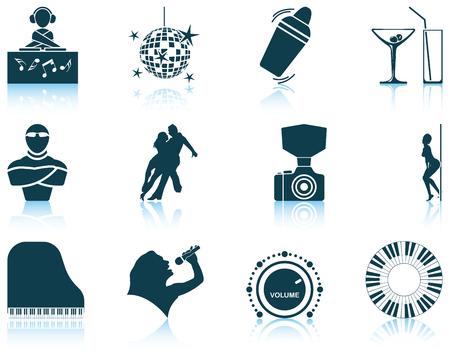 night club: Serie di dodici Discoteca icone con riflessioni. Illustrazione vettoriale.