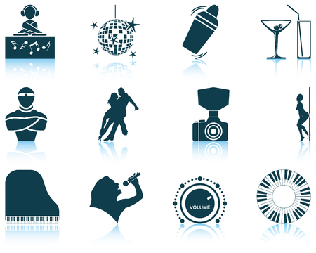strip dance: Set of twelve Night club icons with reflections. Vector illustration.