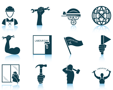 happy worker: Set of twelve Labour Day icons with reflections. Vector illustration.