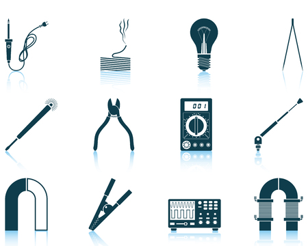 Set of twelve soldering  icons with reflections. Vector illustration. Illustration