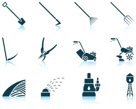 Set of twelve gardening icons with reflections. Vector illustration.