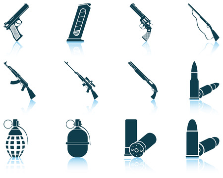 weapons: Set of twelve weapon icons with reflections. Vector illustration.