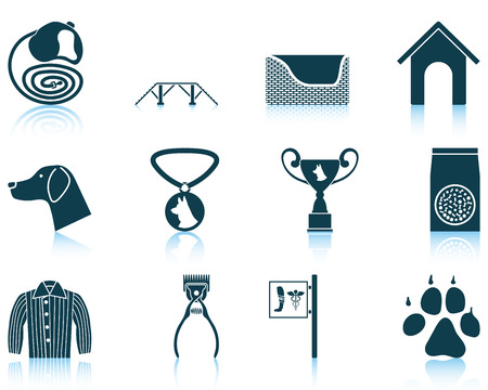 canine: Set of twelve dog breeding icons with reflections. Vector illustration. Illustration
