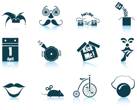 jack in the box: Set of twelve April Fools day icons with reflections. Vector illustration.