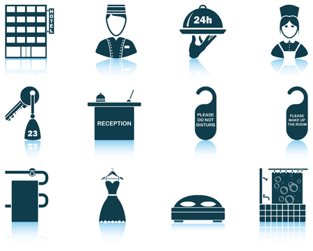 reflections: Set of twelve hotel icons with reflections. Vector illustration.