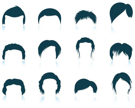 set of men hair styling: Set of twelve mans hairstyles  icons with reflections. Vector illustration.