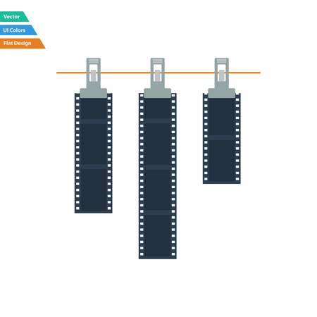 clothespin and rope: Flat design icon of photo film drying on rope with clothespin in ui colors. Vector illustration.