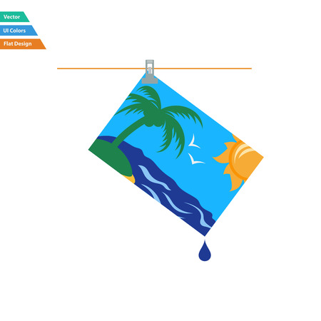 photograph: Flat design icon of photograph drying on rope in ui colors. Vector illustration.
