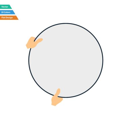reflector: Flat design icon of hand holding photography reflector in ui colors. Vector illustration. Illustration