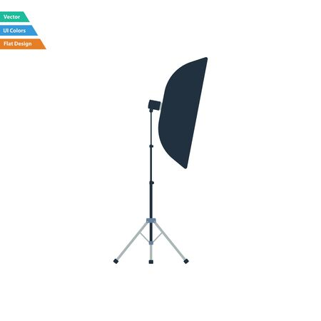 softbox: Flat design icon of softbox light in ui colors. Vector illustration.