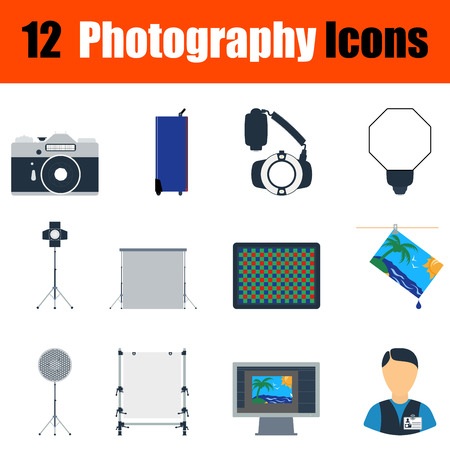 reflector: Flat design photography icon set in ui colors. Vector illustration.