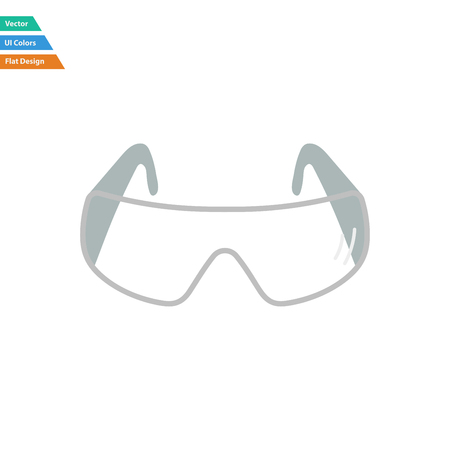 protective eyewear: Flat design icon of chemistry protective eyewear in ui colors. Vector illustration.