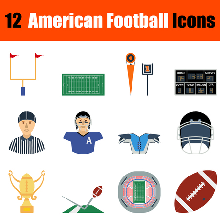 sideline: Flat design American football icon set in ui colors. Vector illustration.