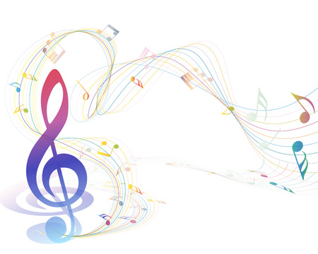 music staff: Musical Design Elements From Music Staff With Treble Clef And Notes in gradient transparent Colors. Elegant Creative Design With Shadows and Isolated on White. Vector Illustration.