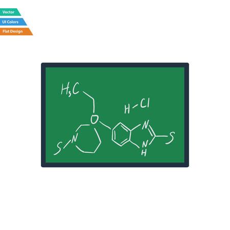 chemistry formula: Flat design icon of chemistry formula on classroom blackboard in ui colors. Vector illustration.