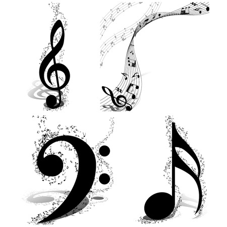 minim: Black and white musical design set from music staff elements with treble clef and notes with copy space. Isolated on white. Vector illustration. Illustration