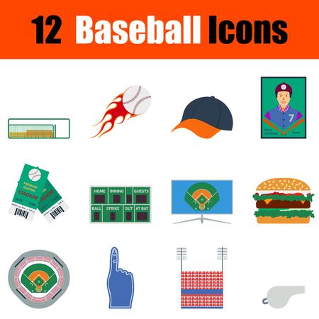 ticket icon: Flat design baseball icon set in ui colors. Vector illustration. Illustration