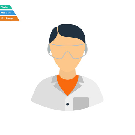 eyewear: Flat design icon of chemist in eyewear  in ui colors. Vector illustration.