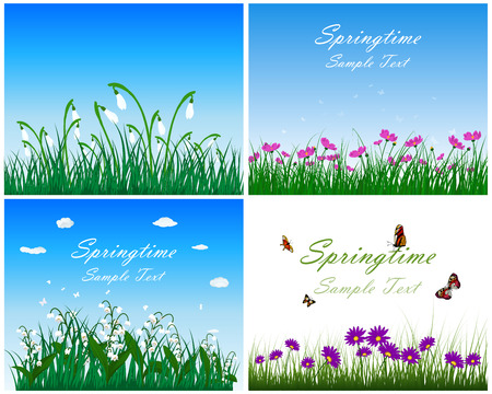 butterfly background: Set of springtime meadows with blue sky and butterflies. Vector illustration.