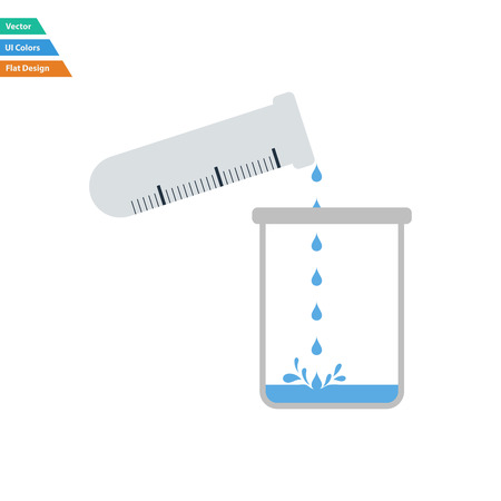 Flat design icon of chemistry beaker pour liquid in flask in ui colors. Vector illustration.
