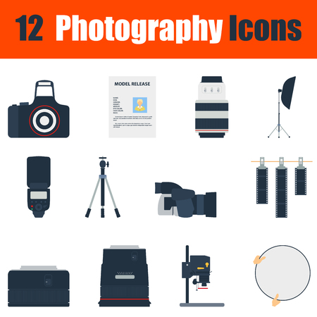 enlarger: Flat design photography icon set in ui colors. Vector illustration.