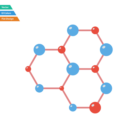 hexa: Flat design icon of chemistry hexa connection of atoms in ui colors. Vector illustration.